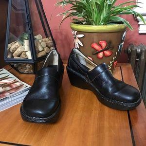 Born  black genuine leather slip on clogs mules